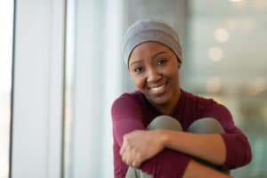 Portrait of a young African American Woman with Cancer