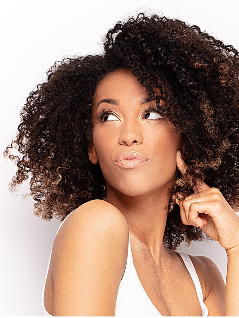 young afro girl posing in studio picture id1153406099